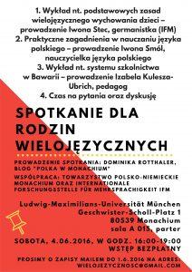 Plakat Spotkanie dla rodzin wielojezycznych